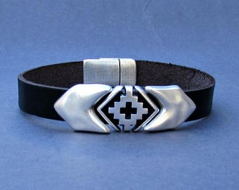 Arrowhead Mens Bracelet Silver Cross Leather Mens Bracelet Cuff Silver Plating Magnetic Clasp Customized On Your WristFathers day gift