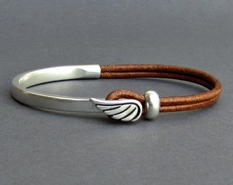 Angel Wing Mens Bracelet, Leather Mens Bracelet, Silver Plated, Mens Christmas Gift, Customized On Your Wrist