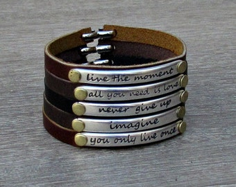 Motivational Bracelet, Quote Bracelet, Inspirational Leather Bracelet, Motivation Jewelry, Bar Bracelet,Customized On Your Wrist