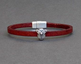 Owl Bracelet, Mens Bracelet, Leather Bracelet, Leather Mens Bracelet, Silver Plated Customized On Your Wrist