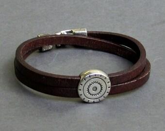 Double Wrap Mens Bracelet, Leather Bracelet For Men, Leather Mens Bracelet, Boyfriend Gift, Customized On Your Wrist Christmas Gift