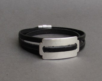 Mens Silver Razor Blade Leather bracelet Wrap Leather Mens Bracelet Cuff Brown Black  Silver Plated Magnetic Clasp Customized On Your Wrist