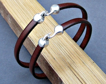 2x Couples Bracelets, Matching Bracelets, Leather Cuff, His Her Bracelet, Best Friend bracelet Customized On Your Wrists
