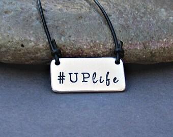 Quote Necklace Mens Unisex Leather Necklace Pendant  Adjustable