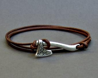 Celtic Axe Bracelet Mens Leather Wrap Boho Bracelet Unisex Leather Bracelet Adjustable