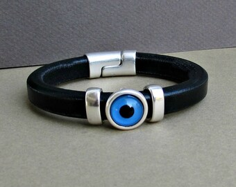 Evil Eye Mens Bracelet Blue Eye Leather Mens Bracelet Cuff Silver Plating Magnetic Clasp Customized On Your Wrist