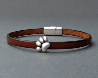 Bear Paw Mens Leather Bracelet Cuff Boyfriend Gift Customized On Your Wrist