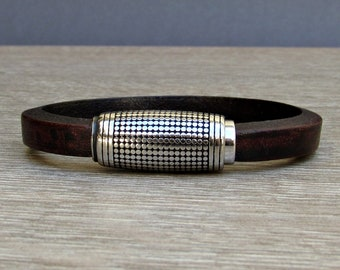 Stainless Steel, Mens Bracelet, Silver Leather Bracelet, Leather Mens Bracelet, Customized On Your WristFathers day gift