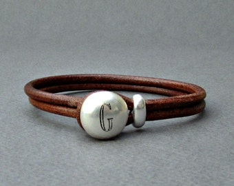 Personalized Mens Leather Bracelet,Custom Name Initial Monogram, Engraved Bracelet, Gift For Men, Husband Gift, Boyfriend Gift