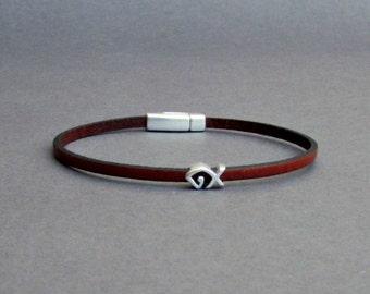 Fish Bracelet Mens Tiny Leather Bracelet Silver Dainty Bracelet Boyfriend Gift Customized On Your Wrist width 3mmFathers day gift