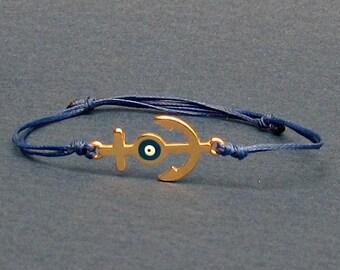 Gold Nautical Anchor Cord Bracelet Evil Eye Unisex Bracelet Adjustable