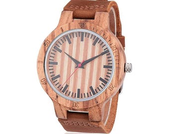 Mens Wood Watch, clock, watch, Brown Wooden watch, mens watch, leather band Wristwatch, Boyfriend Gift, Anniversary Gift, Christmas Gift