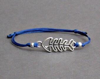 Fishbone, Men's Bracelet, Silver Fishbone Charm, Cord Bracelet For Men, Gift for him, Bestfriend Bracelet, mens jewelry, Adjustable