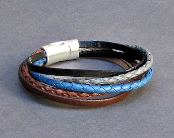 Multistrand Multicolor Braided Leather Bracelet Cuff Unisex Boho Leather Bracelet Customized To Your Wrist