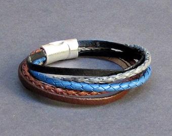 Multistrand Multicolor Braided Leather Bracelet Cuff Unisex Boho Leather Bracelet Customized To Your Wrist