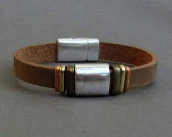 Personalized Mens Leather Bracelet Cuff, Custom Leather Mens Bracelet CuffCustomized On Your Wrist Fathers day gift