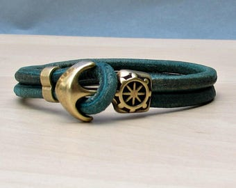 Turquoise Anchor Bracelet Mens Turquoise Leather Cord Bracelet Cuff Sailing Bracelet Customized On Your Wrist.