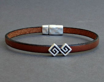 Ancient Geometric Mens Leather Bracelet Cuff Boyfriend Gift Customized On Your Wrist
