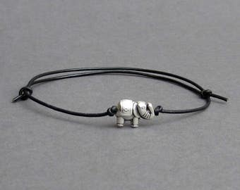 Tiny Elephant Men's Bracelet, Silver Elephant Charm, Leather Bracelet For Men, Gift for him, Bestfriend Bracelet, mens jewelry, Adjustable