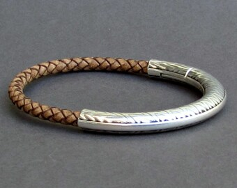 Braided Men's Leather Bracelet , Silver Mens Rustic Bracelet, Mens Leather bracelet, Mens Gift, Customized NEW On Your Wrist