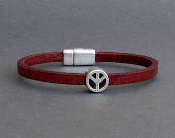 Peace Sign Mens Bracelet, Leather Bracelet, Leather Mens Bracelet, Silver Plated Customized On Your Wrist