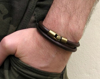 Double Wrap Hook Leather Bracelet, Mens Leather Bracelet, Bracelet For Him, Customized On Your Wrist
