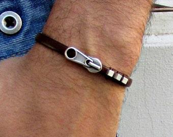 Zipper  Mens Leather Bracelet Cuff Dainty Silver Unisex Bracelet Customized On Your Wrist