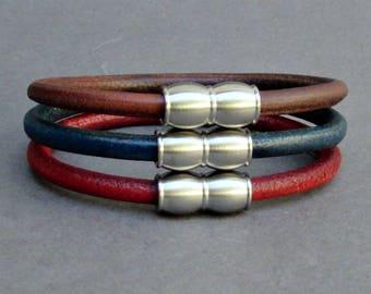 Mens Stainless Steel Leather Bracelet, Leather Bracelet For Men, For Husband,  For Boyfriend, For Him, Boyfriend Gift, Mens Gift