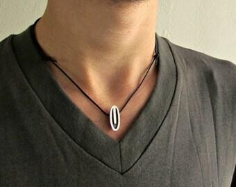 Minimalist Men's Necklace Pendant, Silver Charm, Leather Necklace Pendant, Adjustable