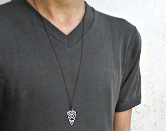 Geometric Mens Necklace Pendant Silver Long Mens Necklace Pendant Adjustable