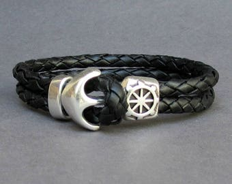 Leather Braided Bracelet Anchor Bracelet Mens Leather bracelet Cuff Sailing Bracelet Customized On Your Wrist.Fathers day gift