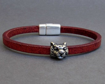 Mens Tiger Bracelet, Leather Bracelet For Men, Leather Mens Bracelet, Boyfriend Gift, Silver Plated Customized On Your WristFathers day gift
