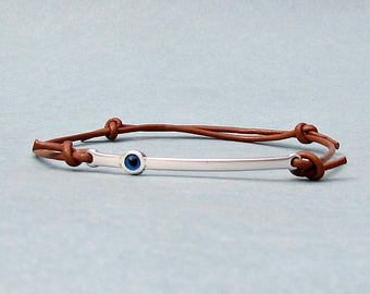 Evil Eye, Silver Bar Bracelet, Unisex Leather Cord Bracelet His And Hers Silver Dainty Bracelet Adjustable