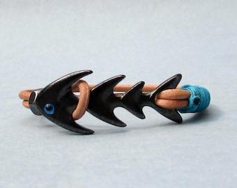Fishbone Mens Bracelet, Gunmetal Black Fish Mens Leather bracelet Cuff, Customized On Your WristFathers day gift