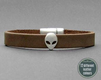 Alien Mens Leather Bracelet Cuff Leather Mens Bracelet Cuff Silver Plating  Customized On Your WristFathers day gift