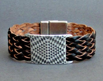 Braided Leather Bracelet Cuff Geometric Mens Silver Bracelet Cuff Customized To Your WristFathers day gift