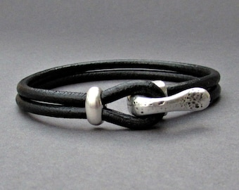 Silver Hook Mens Bracelet, Leather Bracelet, Antique Silver Plated, Rustic Mens Bracelet, Mens Valentine's Gift, Customized On Your Wrist