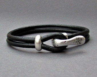 Silver Hook Mens Bracelet, Leather Bracelet, Antique Silver Plated, Rustic Mens Bracelet Customized On Your Wrist Fathers day gift