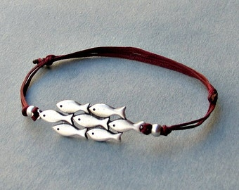 A Scool Of Fish, Men's Bracelet, Silver Fish Charm, Cord Bracelet For Men, Gift for him, Bestfriend Bracelet, mens jewelry, Adjustable