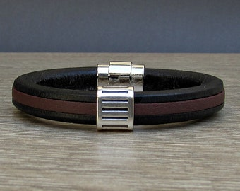NEW DESIGN Bracelet For Men, Mens Leather Bracelet, Silver Bronze  Leather Mens Bracelet Cuff, Boyfriend Gift, Customized On Your Wrist