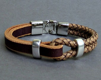 Brown, Natural, Braided Leather Bracelet, Mens Leather bracelet Cuff Gift For Men Customized On Your WristFathers day gift