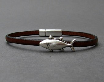Tiny Fish Bracelet Mens Leather Bracelet Fish Dainty Bracelet Boyfriend Gift Customized On Your Wrist width 3mm