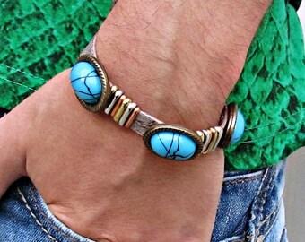Mens Leather Bracelet, Boho Chic Turquoise Cuff Bracelet, Gypsy Cuff Bracelet, Custom Bracelet