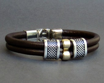 Mens Leather Bracelet Leather Men Beaded Bracelet Cuff  Brown Black Antique Silver Plated Customized On Your Wrist MS1