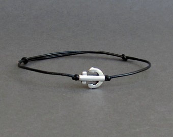 Tiny Anchor Bracelet, Silver Anchor Leather Cord Bracelet His And Hers Silver Dainty Bracelet Adjustable