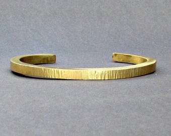 Men's Thin Hammered Brass Cuff Bracelet Unisex Bracelet  Boyfriend Gift Gift For Him  Customized On Your Wrist