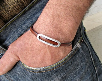 Mens Leather Bracelet Leather Mens Bracelet Cuff Brown Black  Silver Plated Magnetic Clasp Customized On Your Wrist