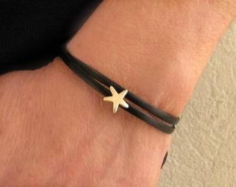 Double Wrap Leather Bracelet,Tiny Starfish Bracelet, Unisex Bracelet, Boyfriend Gift, Gift For Him, Wide 3 mm Customized On Your Wrist