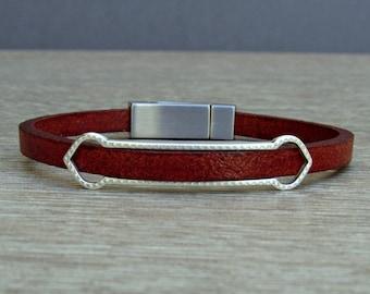 Boyfriend Gift, Mens Bracelet, Leather Bracelet, Leather Mens Bracelet, Silver Plated Customized On Your Wrist