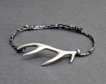 Deer Horns Bracelet, Men's Bracelet, Silver Deer Horns, Bracelet For Men, Gift For Him, Horns, Unisex Bracelet, Adjustable